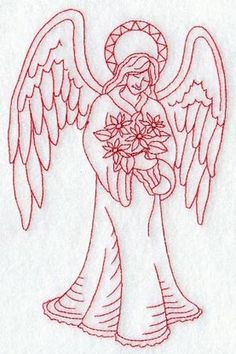 Quick to stitch and all one color, a peaceful angel cradling a bouquet of poinsettias will easily add the Christmas spirit to any item. Cross Stitch Embroidery, Hand Embroidery, Cross Stitch Patterns, Angel Wings Clip Art, Machine Embroidery Designs, Embroidery Patterns, Christmas 24, Christmas Angels, Christmas Crafts