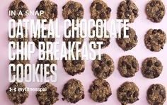 This recipe for chewy chocolate chip breakfast cookies whips together just 3 simple ingredients: ripe bananas, wholesome oats and chocolate chips!
