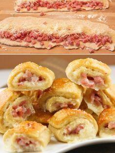Rollitos de jamón y queso.  Great idea to make finger foods for a get-together.