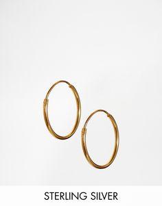ASOS Gold Plated Sterling Silver 9mm Fine Hoop Earrings
