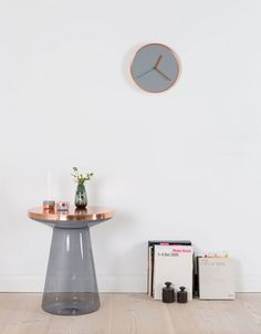 Buy Thin Wall Clock - Copper & Grey at The Gifted Few and shop our full range of Clocks, Gifts, Home Accessories, Housewarming Gifts. Glass Side Tables, Metal Side Table, Wall Clock Copper, British Home Decor, Copper And Grey, Unique Wall Clocks, Home Decor Trends, Home Accessories, Modern