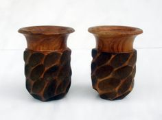Set of 2 Beautifully Hand Carved Wood Wooden Cup by LotusInTheWind, $14.95 c.1970's