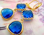 Drop Cobalt gold Earrings!