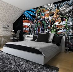 Giant size wallpaper mural for boy's and girl's bedroom. Justice Legaue cartoon wall decoration ideas. Express and worldwide shipping. Free UK delivery.