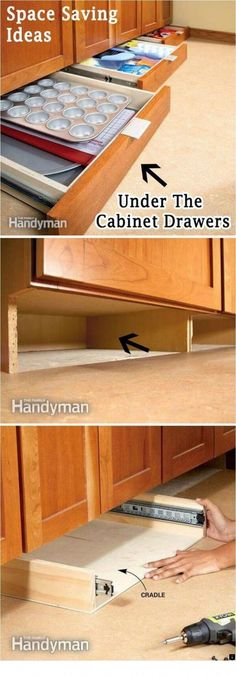 Add More Storage Space in the Kitchen with Under-Cabinet Drawers. Finding storage areas in any room always makes a space look bigger. Look under your kitchen cabinet drawers and add more storage for all of your cooking needs. via familyhandyman. Cocina Diy, Diy Home, Kitchen Redo, Kitchen Small, Kitchen Pantry, Small Kitchens, Kitchen Drawers, Ikea Kitchen, Kitchen Styling