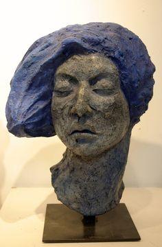 Blue - head - Lapis Lazuli Venus - Ayelet Lalor Cast and modeled concrete composite, steel , paint,