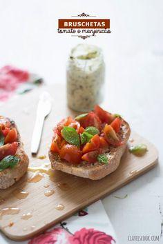 Bruschetta de tomate-cereja e manjericão