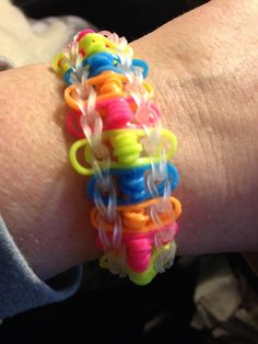 Twisted ladder rainbow loom bracelet.