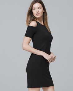 8e53abeb459 Women s Cold-Shoulder Black Knit Sneaker Dress by White House Black Market  Dress With Sneakers