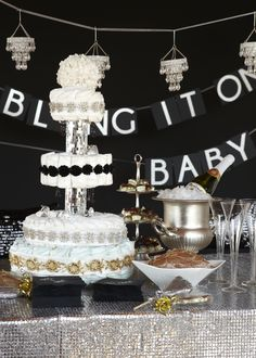 Bling-Themed Baby Shower. Make the baby shower shine with apple cider, shimmering sweats and a diaper cake fit for a dancing queen!