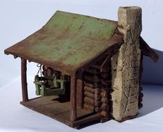 A Very Detailed Miniature Log Cabin Complete with Porch Swing Early 1900'S…