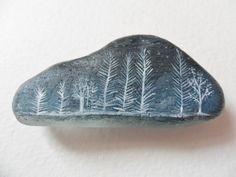 Night snow trees - Original acrylic miniature art on English sea glass via Etsy