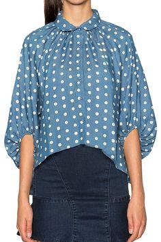Polka Dot Ruffle Half Sleeve Shirt