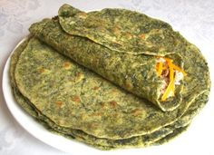 Homemade spinach tortillas. Very healthy. Will be making these tomorrow!