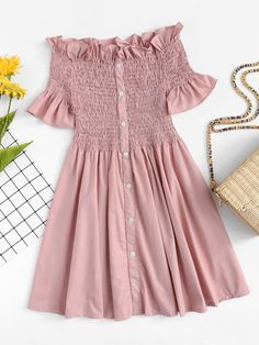 Boho A Line Plain Fit and Flare Trapeze Off the Shoulder Short Sleeve Flounce Sleeve Natural Pink Short Length Off-Shoulder Ruffle Trim Pleated Dress Girls Fashion Clothes, Summer Fashion Outfits, Girly Outfits, Cute Casual Outfits, Stylish Outfits, Trendy Fashion, Casual Dresses, Fashion Dresses, Pink Fashion