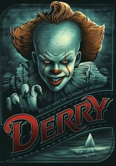 27 years after overcoming the malevolent supernatural entity Pennywise, the former members of the Losers' Club, who have grown up and moved away from. Penny Wise Clown, Horror Posters, Horror Icons, Two Movies, Scary Movies, Movie Tv, Horror Movie Characters, Horror Movies, Pennywise The Dancing Clown
