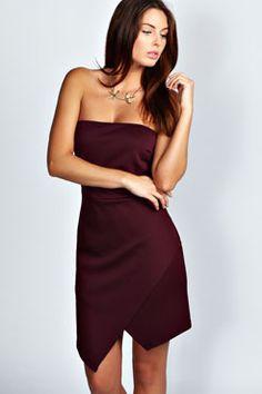 Kim Bandeau Asymmetric Hem Bodycon Dress