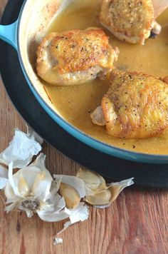 Garlic Chicken Thighs: tender chicken thighs in garlic sauce w/crispy, delicious skin. Easy. Chicken stock & garlic bring extra flavor to the table.