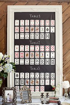 SEATING PLAN: 15 Alternative & Unique Seating Plan Displays.  My favorite of these is using playing cards somehow. . .maybe with pictures on the back.?