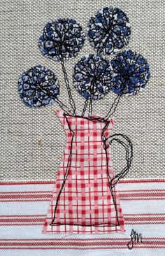 Alliums in jug - framed freestyle machine embroidery £13.00