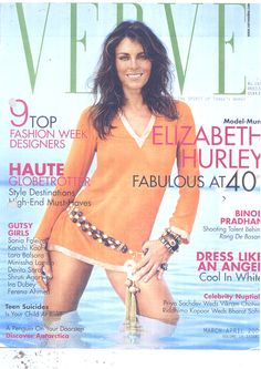 Elizabeth Hurley on the cover of Verve, March 2006 , wearing a Malaga jewelled belt