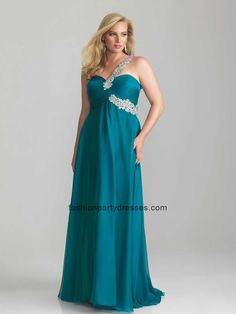 NM6678 One-Shoulder Sweetheart Plus Size Prom Gown