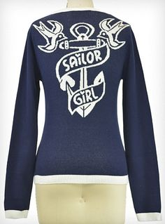 Sea Swallow Sailor Girl Cardigan *the front has a matching swallow on the front! Love!*