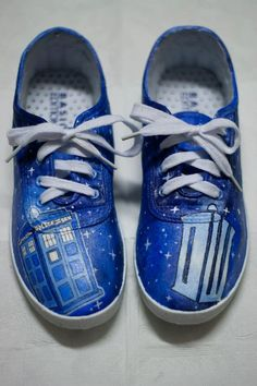 "Hand Painted Doctor Who shoes from ""Fay's Custom Shoes"" Etsy Store.    https://www.etsy.com/listing/114981549/made-to-order-doctor-who-shoes"