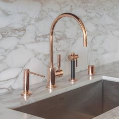 dornbracht contemporary gooseneck kitchen faucet with sidespray in rose gold - the ultimate guide to luxury plumbing by the delight of design Interieur the ultimate guide to luxury plumbing — the delight of design Kitchen Decor Themes, Home Decor Kitchen, Kitchen Ideas, Decorating Kitchen, Kitchen Taps, Kitchen And Bath, Kitchen Cabinets, Modern Kitchen Sinks, Space Kitchen