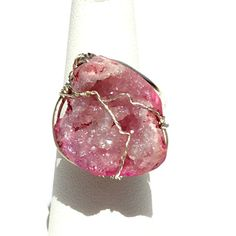 Pretty in pink quartz crystal geode ring wire by MyWiredJewelry