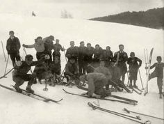 Abram Chukernik (squatting in the first row on the left) at a ski site, Vilna, Poland, Prewar. Abram Chukernik was born in Vilna, Poland. Before the war he worked in a clothing / fabric shop. He was 35 years old when he was murdered in Klooga on 19/09/1944. Courtesy Central Historic Museum in Estonia