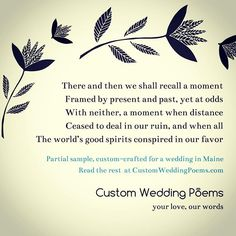 Custom-crafted poems for one wedding, one love. #weddingplanning #weddingpoem #weddingideas #weddinginspiration