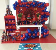 Spiderman Theme Dessert table and Decor Spiderman Theme Party, Baby Spiderman, Spiderman Birthday Cake, Avengers Birthday, 3rd Birthday Party For Boy, Cake Table Birthday, Superhero Birthday Party, Birthday Party Decorations, Spider Man Party