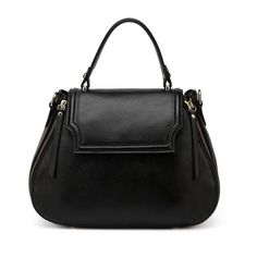 Black Expanding Italian Leather Tote