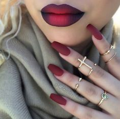 autumn, bold, burgundy, lips, makeup, maroon, nails, ombre lips