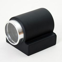 Black PU Leather Clock Shaped Single Automatic Watch Winder - Mains or Battery - Japanese Motor