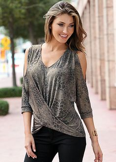 Silver Multi Printed cold shoulder top from VENUS. Sizes XS-XL!