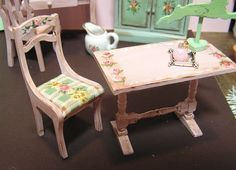 Miniature Dollhouse Furniture Table and Chair Rabbit Signed by Artist | eBay