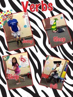 We are studying verbs during in Language Arts. We used our ipads to take pictures of each other showing an action verb. Then we used the Pic Collage app to make these verb collages.