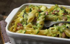 Pasta al forno zucchine e pancetta