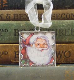 Santa Claus Christmas Ornament - Soldered Glass Ornament or Pendant with Vintage Illustration - Santa Ornament - Santa Pendant by PisforPaper on Etsy https://www.etsy.com/listing/116898724/santa-claus-christmas-ornament-soldered
