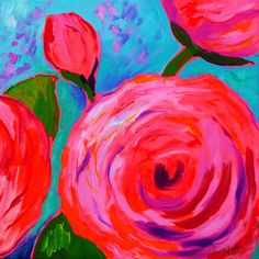 """Rose Glow"" by Faith Jordan in Etsy shop faithcolors, 18x18x7/8, hot pink rose artwork, flower painting, rose painting, abstract rose art, whimsical painting, canvas painting, bright neon art, original acrylic painting"