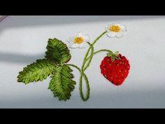 Embroidery :Strawberries 🍓 Вышивка: Клубника 🍓 Cómo bordar fresas - YouTube
