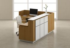 Envision - Two tone office reception furniture adds dimension. Front Desk Hotel, Front Office, Reception Furniture, Lobby Furniture, Office Reception, Reception Areas, Office Lobby, Office Desk, Receptionist Jobs
