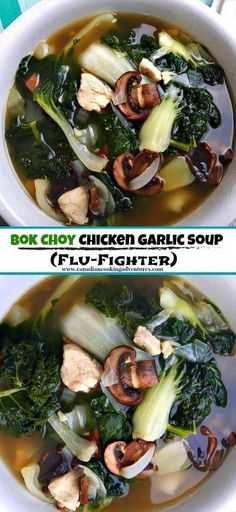 Bok Choy Chicken Garlic Soup (Flu-Fighter) - This is my way to soup, . - Bok Choy Chicken Garlic Soup (Flu-Fighter) – This is my go to soup when I feel depressed. Asian Recipes, Healthy Recipes, Healthy Soup, Garlic Recipes, Vegetarian Soup, Healthy Mushroom Recipes, Garlic Ideas, Mushrooms Recipes, Bok Choy Recipes