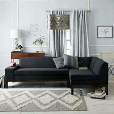 West Elm Lorimer Sectional Set 4- (One-Arm Sofa (Right Arm)/Corner/Single), Performance Velvet, Otter - Brown