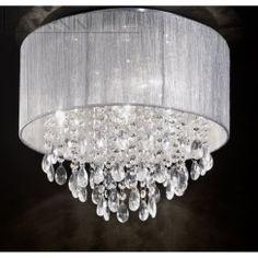 Franklite FL2281/4 Royale 4 Light Crystal Ceiling Light Translucent Silver