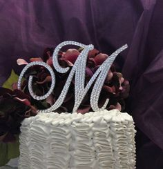 Monogram Cake Topper in any letter A B C D E F G H I J K L M N O P Q R S T U V W X Y Z on Etsy, $50.00