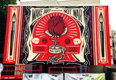 """Shepard Fairey unveils """"Make Art Not War"""" for Urban Nation in Berlin, Germany Berlin Graffiti, Graffiti Kunst, Banksy, Shepard Fairey Art, Visit Berlin, Coffee And Cigarettes, Business Stories, Art Themes, Make Art"""
