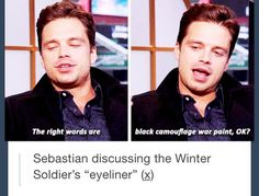 "Sebastian discussing the Winter Soldier's ""eyeliner"" - visit to grab an unforgettable cool 3D Super Hero T-Shirt!"